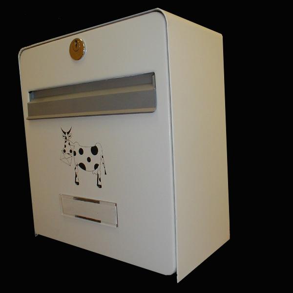 bo te aux lettres mini standard coloris blanc s rigraphie vache noire homologu e la poste. Black Bedroom Furniture Sets. Home Design Ideas