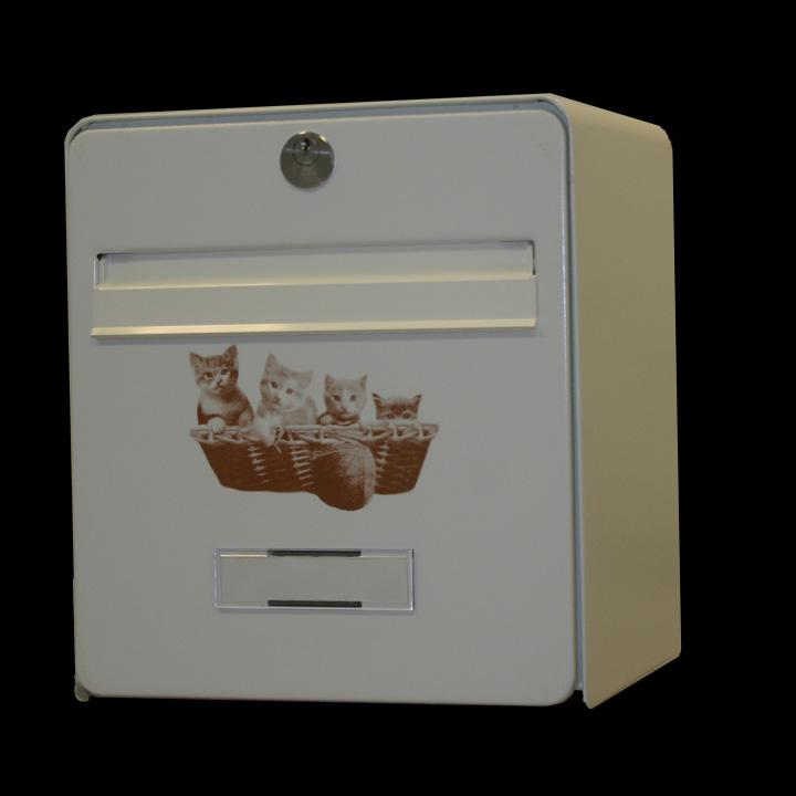 bo te aux lettres mini standard coloris ivoire s rigraphie chatons chocolat balsa homologu e. Black Bedroom Furniture Sets. Home Design Ideas