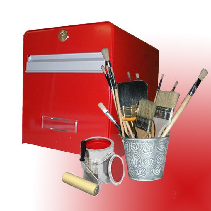 garnir la boite aux lettres d 39 un bouquet de pinceaux et son petit pot de peinture. Black Bedroom Furniture Sets. Home Design Ideas